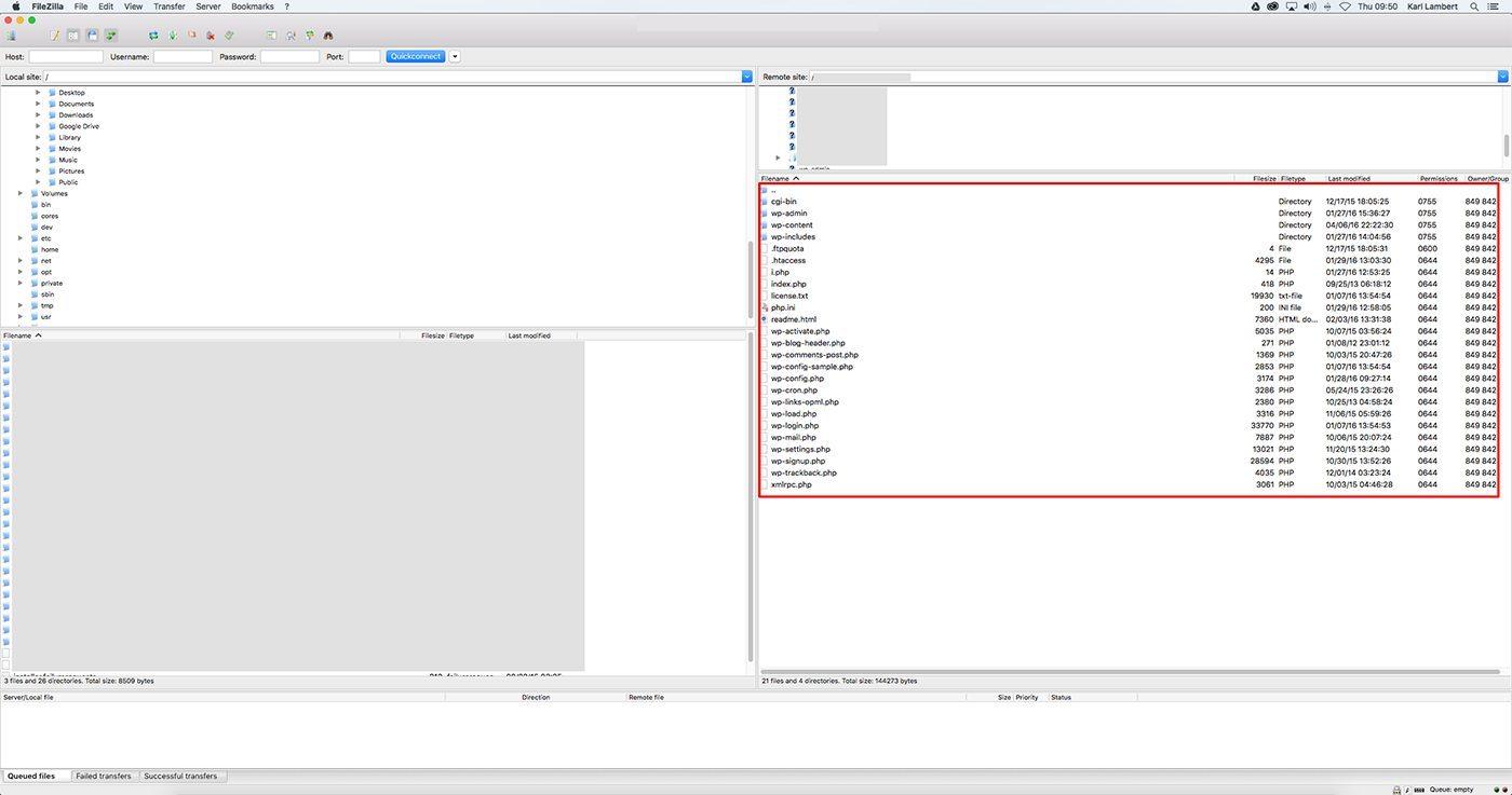 FileZilla Screen
