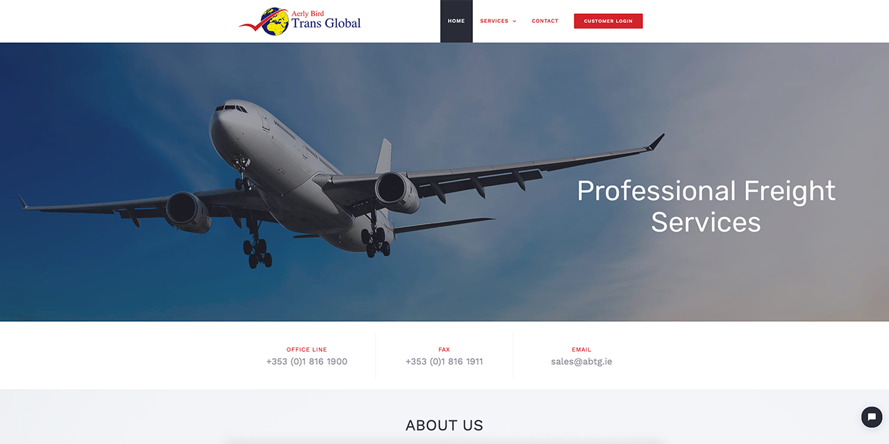 Aerly Bird Trans Global - Web Design by True Design